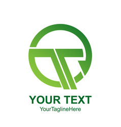 initial letter t logo template colored green vector image