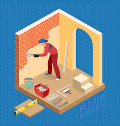 isometric interior repairs concept builder is vector image