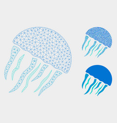 Jellyfish mesh wire frame model and vector