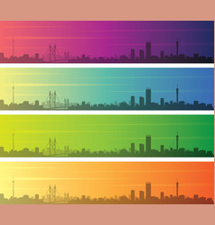 Johannesburg multiple color gradient skyline vector