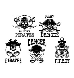 Jolly roger pirate icons set vector