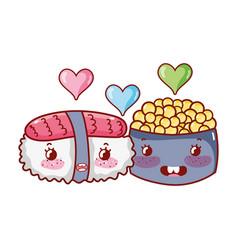 kawaii sushi and caviar love food japanese cartoon vector image