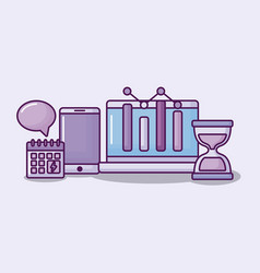 laptop computer with electronic business icons vector image
