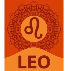 Leo Lion Zodiac icon with mandala print vector