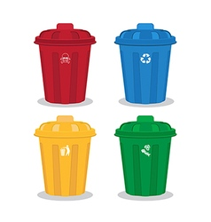 many color wheelie bins set of waste vector image