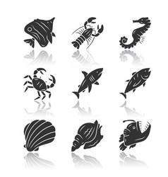 Marine animals drop shadow black glyph icons set vector