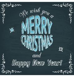 Merry Christmas chalkboard greeting card vector