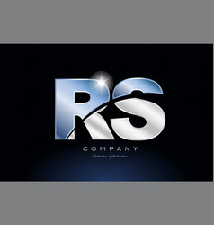 Metal blue alphabet letter rs r s logo company vector