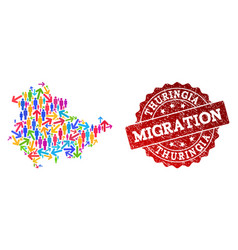 Migration composition of mosaic map of thuringia vector