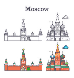 moscow linear russia landmark soviet buildings vector image