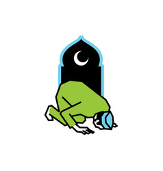 Muslim people prayer at night ramadan night vector