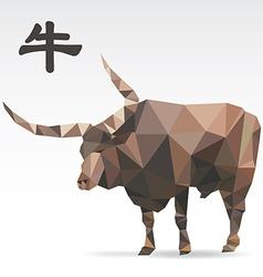 Ox polygon origami zodiac vector