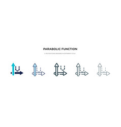 Parabolic function icon in different style two vector