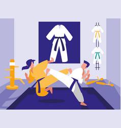 People in martials arts dojo scene vector