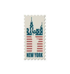 postage stamp with statue of liberty vector image