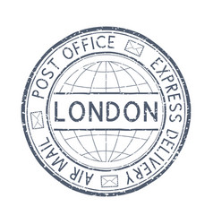 Postal stamp with london title round gray vector