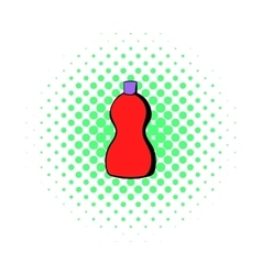 Red plastic bottle of detergent icon comics style vector image