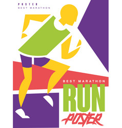 run best marathon colorful poster template vector image