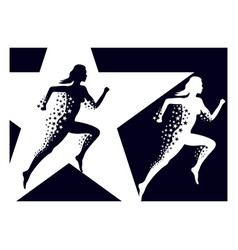 Running girl with a train stars vector