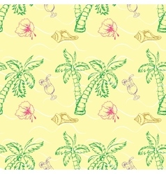 Sea shell palm tree seamless pattern vector image