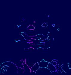 Seaplane hydroplane gradient line icon on a dark vector