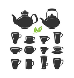 set cups and teapots various shapes vector image