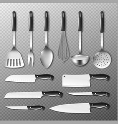 set cutlery and utensils templates realistic vector image