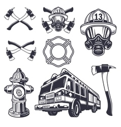 set designed firefighter elements vector image