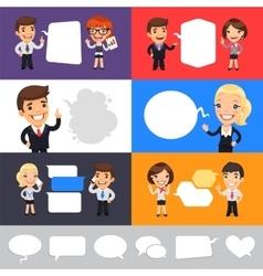 Set of a Speaking Businessmen vector image