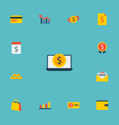 set of commerce icons flat style symbols with bill vector image