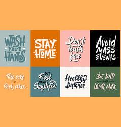 set quarantine hand drawn unique typography vector image