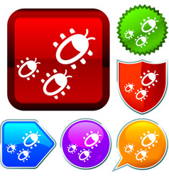 Set shiny icon series on buttons bugs vector