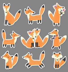set stickers with cute foxes forest characters vector image