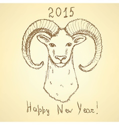 Sketch New Year ram in vintage style vector image vector image
