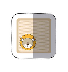 Sticker colorful greeting card with picture lion vector