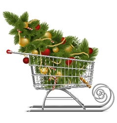 Supermarket sled with christmas tree vector