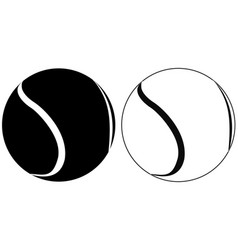 Tennis ball black and white outline icons vector