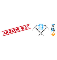 Textured angkor wat line seal with mosaic bitcoin vector