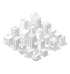 town street intersection road buildings isometric vector image