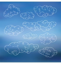 Vintage clouds set vector image