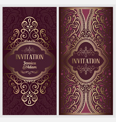 Wedding invitation card with gold shiny eastern vector