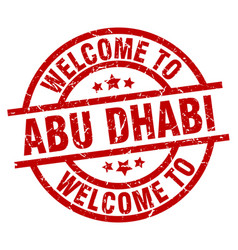 Welcome to abu dhabi red stamp vector