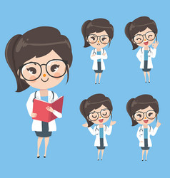 Woman doctor in action and mood in uniform vector