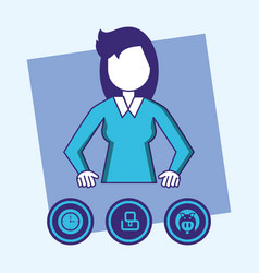 Woman with fintech concept vector