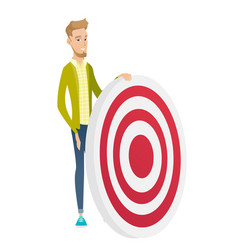 young caucasian businessman and dart board vector image