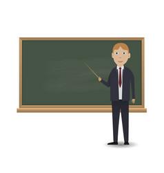 young teacher standing in front of blackboard vector image