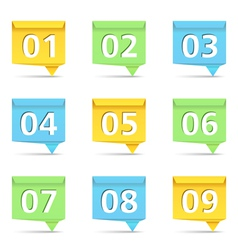 1Origami Banners with Numbers vector image vector image