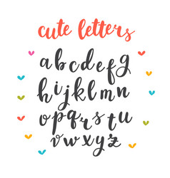 cute letters hand drawn calligraphic font vector image