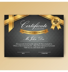 Elegant certificate of achievement with ornaments vector image