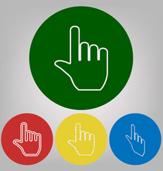 hand sign 4 white styles of vector image
